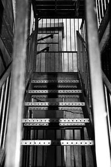 Staircase, Black White, Perspective, Bars, Worrying
