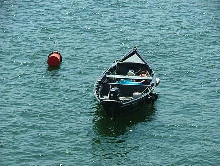 Boat, Water, Lonely, Buoy, Porto, Portugal, Europe