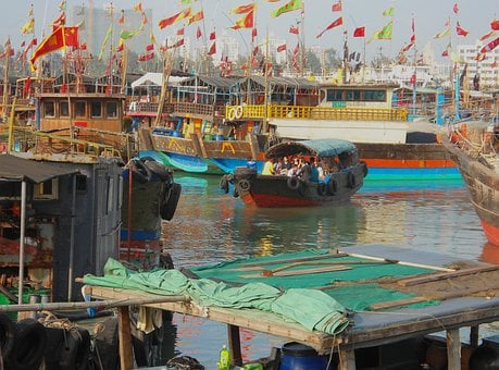 Haikou, China, Boats, Ships, Bay, Harbor, River, Water