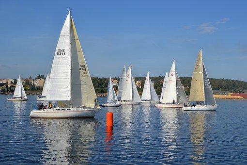 Sailing Boats, Sailing Race, Sweden, Water, Boats