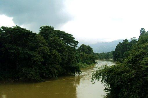 Mahaweli River, River, Green Trees, Sky, Cloudy Sky