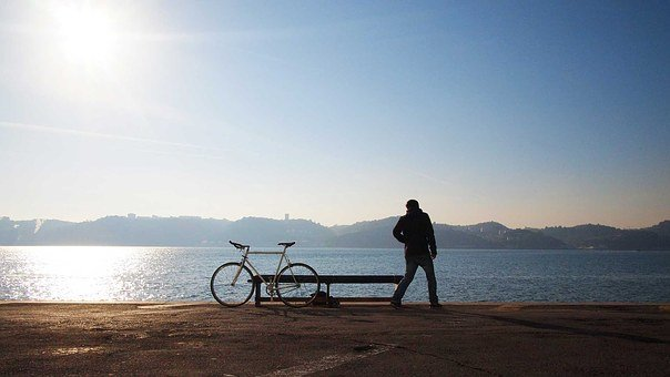 Solitary, Bicycle, Man, Bike, Lifestyle, Sunny, Colors