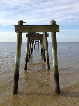 Pier, Old Pier, Old, Weathered, Damaged, Sea, View