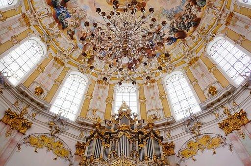 Church, Ettal, Lampshade, Light, Dom, Dome, Organ