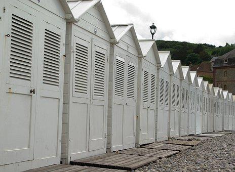 France, Normandy, Etretat, Beach, Bathing Huts