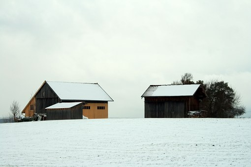 Germany, Bavaria, Farm, Barn, Shed, Hill, Sky, Clouds