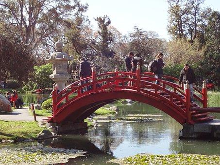 Red Bridge, Garden, Lake, Japanese Garden, Buenos Aires