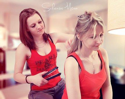 Two Girls, Daughter, Matter, Hair Care