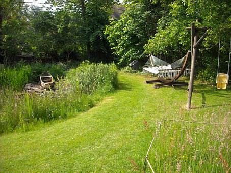 Garden, Nature, Green, Trees, Grass, Pond, Hammock