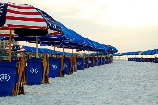 Beach, Sand, Sea, Holiday, Sunrise, Parasols, Shacks