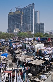 Laundry, Slum, India, Mumbai, Cityscape, City, Building