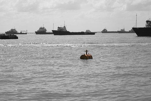 Sea, Buoy, Boats, Ciudad Del Carmen, Mexico