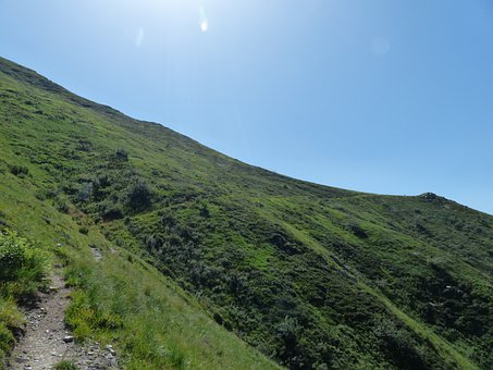 Hike, Mountains, Mountain, Grassy Slope, Trail