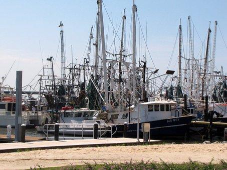 Shrimping, Boats, Gulf, Coast, Ms, Beach, Fishing, Dock