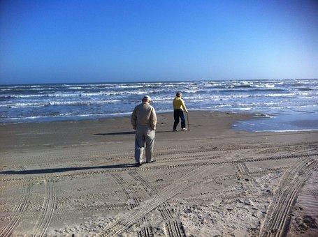 Grandparents, Texas, Coast, Gulf, Beach, Mustang Island