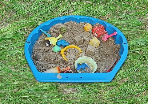 Buddelkiste, Sand Pit, Sand, Toys, Playground, Child