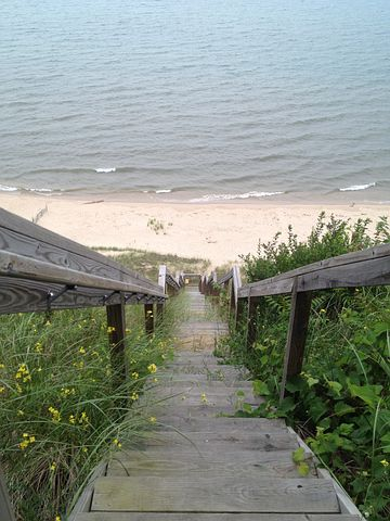 Stairs, Steps, Long, Beach, Ocean, Shore, Lake, Railing