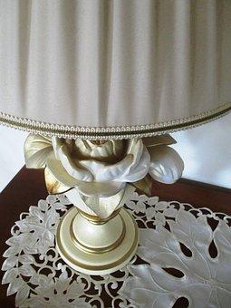 Lamp, Table Lamp, Socket, Rose Motif, Porcelain