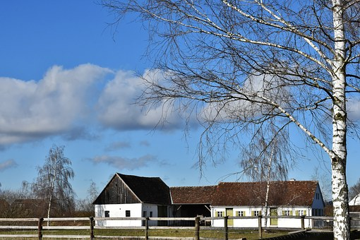Farm, Bauerhofmuseum, Rural, Barn, Stone, Sky, Clouds