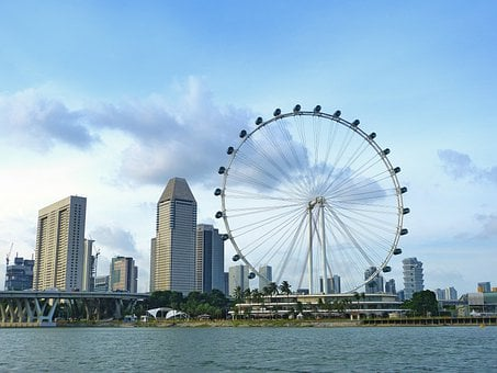 Singapore, Ferris Wheel, Big Wheel, River, Skyline
