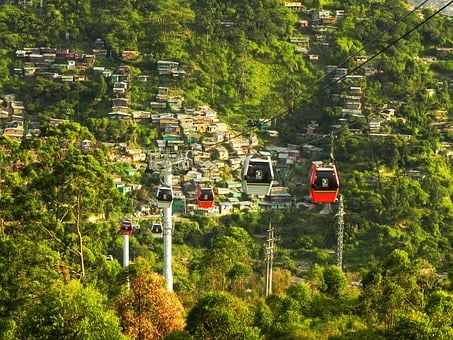 Cable, Car, Medellin, Colombia, Slum, Metrocable