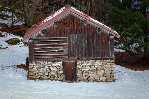 Hut, Barn, Log Cabin, Scale, Snow, Winter, Wood, Stone