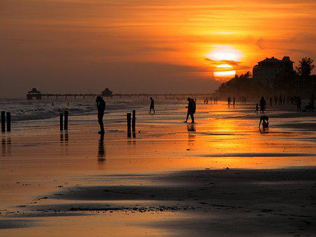 People, Silhouette, Sunset, Beach, Florida, Usa