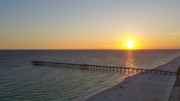 Sunset, Panama City Beach, Gulf Of Mexico, Travel
