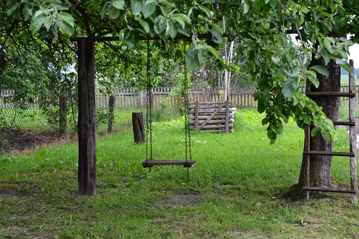 Green, Swing, Wooden, Summer, Countryside, Yard
