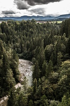 Bach, Gorge, River, Ammer Gorge, Ammer, Valley, Clouds