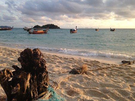 Thailand, Koh Lipe, Beach, Sunrise, Thai Fishing Boat
