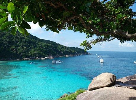 Similan Island, Boats, Azure, Sea, Paradise
