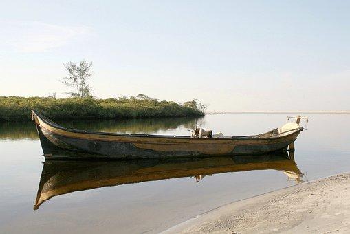 Boat, Itapoá, Brazil, Beach, River Left Mirim