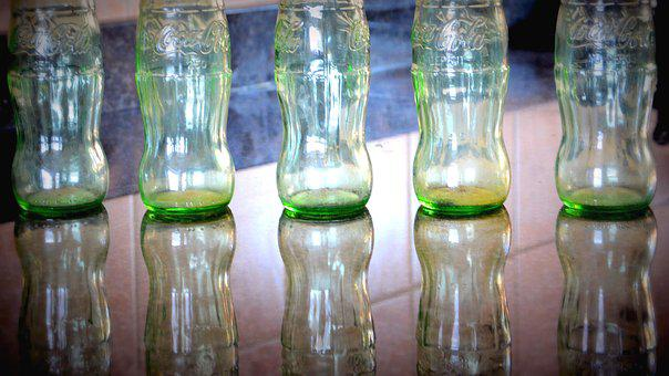 Coca Cola, Bottles, Glass, Empty, Recycling, Reflection