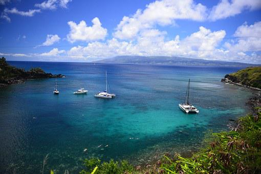 Hawaii, Maui, Snorkel, Tropical, Boats, Bay, Clouds