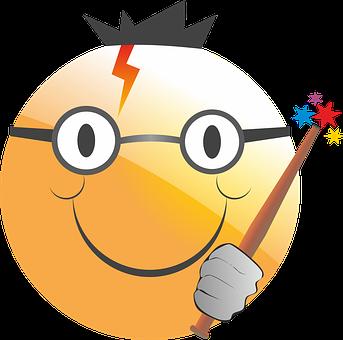 Emoticon, Smiley, Harry Potter, Magician, Conjure