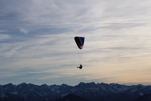 Parachutist, Mountains, Parachute, Fly, Skydiving