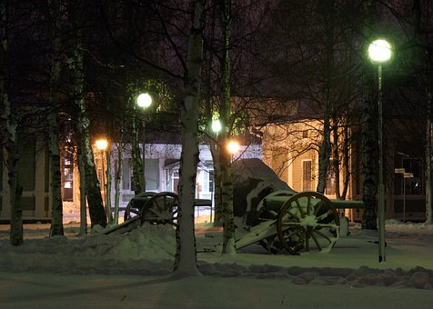 Oulu, Finland, Building, Barracks, Old, Cannon, Night
