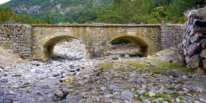 Old Bridge, Dry Torrent, Stones, River Bed, Rocks, Arid