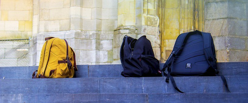 Bags, Stairs, School, Brick, Step, Travel, Old