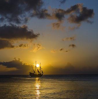 Sunset, Island, Ship, Sea, Landscape, Nature, Ocean