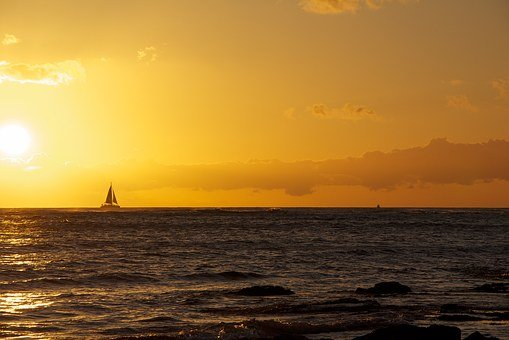 Hawaii, Sunset, Sailboat, Yellow, Orange, Ocean, Beach