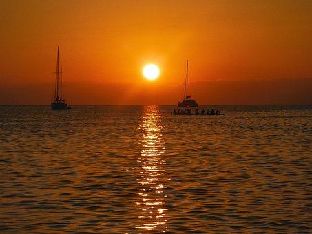 Sunset, Caribbean Sunset, Sea, Water, Tropical, Beach