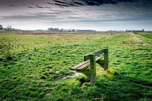 Polder, Bench, Grass, Wide, Open Plain, Clouds
