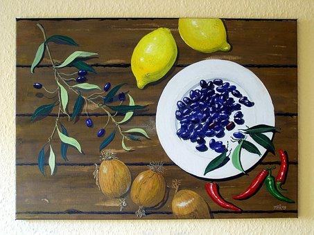 Art, Paint, Acrylic Paint, Still Life, Painting, Lemons