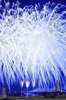 Yokota, Japan, Fireworks, Plane, Aircraft, Buildings