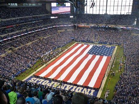 Stadium, Flag, Colt's Game, Crowd, People, America