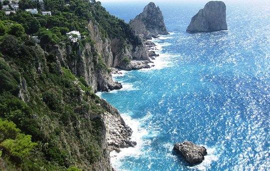 Amalfi Coast, Cliff, Italy, Capri, Sea, Water, Book