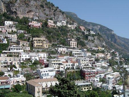 Italy, Positano, Homes, Coast, Amalfi Coast, Rock