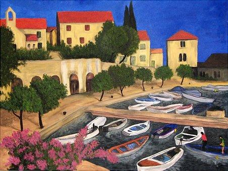 Painting, Acrylic, Colorful, Art, Landscape, Color